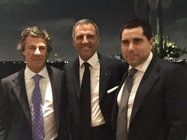 Eduardo Montefusco with businessmen Ugo Colombo and Riccardo Silva