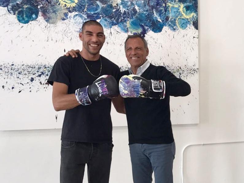 """Eduardo Montefusco con Omar Hassam, in occasione del """"Miami Art Basel"""" 2017"""