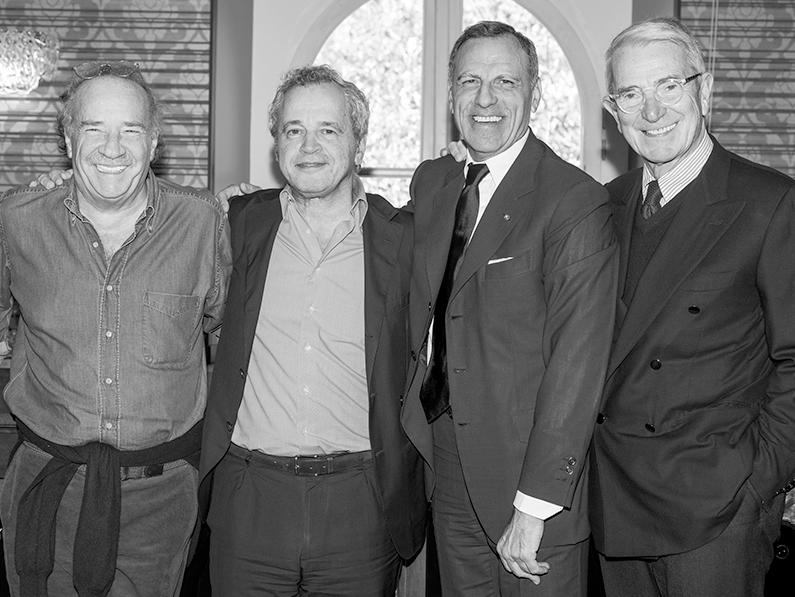 Eduardo Montefusco with his friends Clemente Mimun, Enrico Mentana & Carlo Rossella